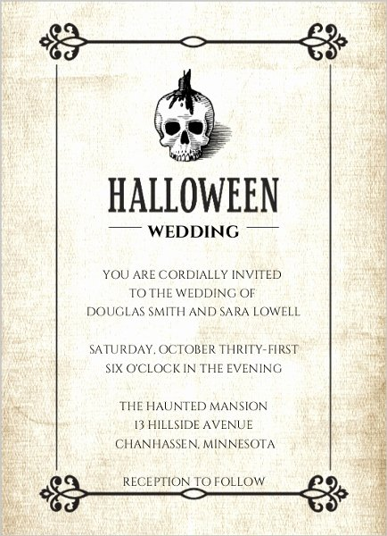 Halloween Wedding Invitation Wording Lovely Halloween Skull Linen Texture Wedding Invitation