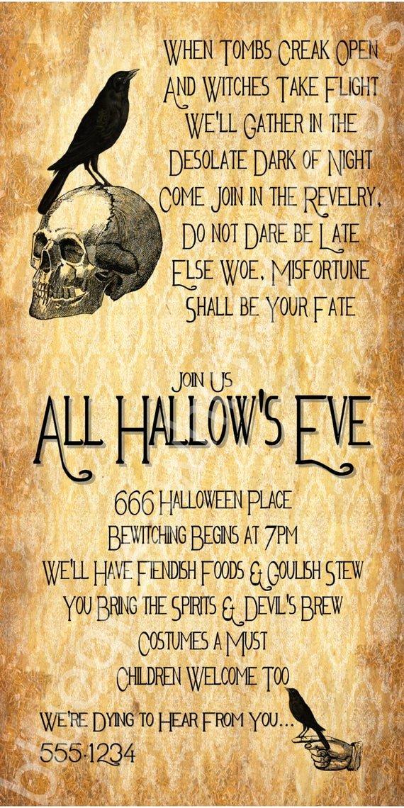 Halloween Wedding Invitation Wording Unique All Hallow S Eve Halloween Party Invitation 4x8 5x7 4x6