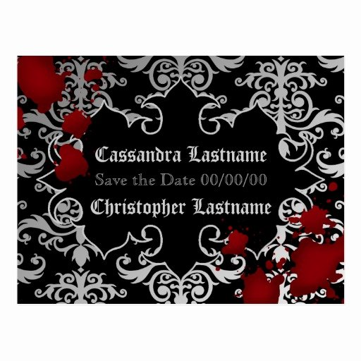 Halloween Wedding Save the Date Beautiful Vampire Halloween Wedding Save the Date Postcard