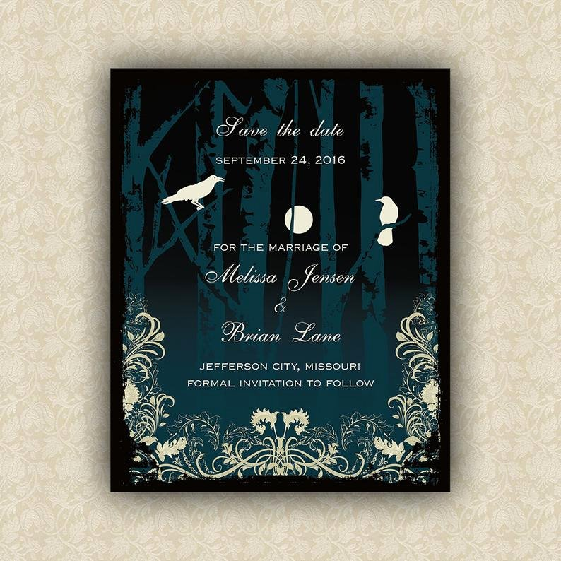 Halloween Wedding Save the Date Lovely Halloween Wedding Save the Date Cards Elegant Gothic Wedding
