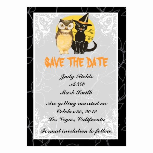 Halloween Wedding Save the Date Luxury Cat & Owl Halloween Wedding Save the Date Card Business Cards Pack 100