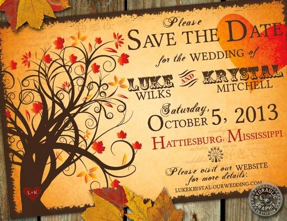 Halloween Wedding Save the Date Luxury Fall Save the Date Wedding Invitation with by Hydraulicgraphix