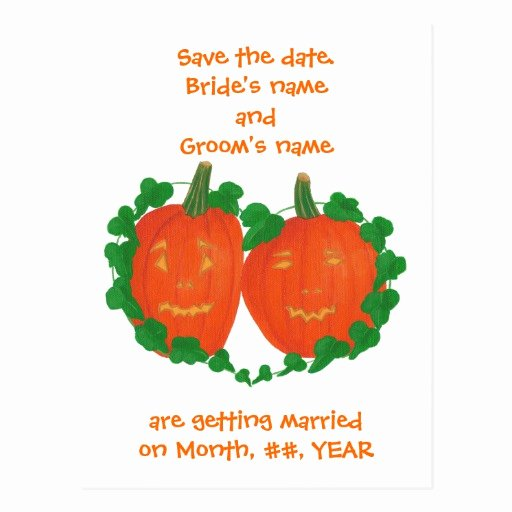 Halloween Wedding Save the Date New Halloween Pumpkins Save the Date Wedding Postcards