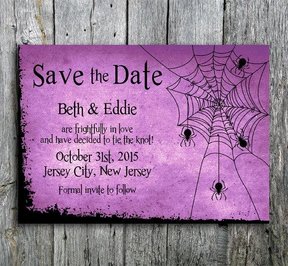 Halloween Wedding Save the Date Unique Halloween Wedding Save the Date with Spiders and by Langdesignshop
