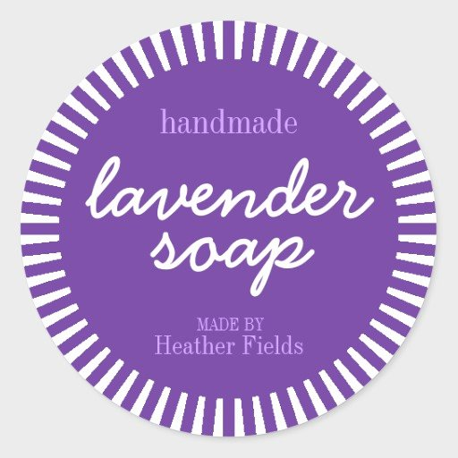 Handmade soap Label Template Luxury Handmade Lavender soap Round Label Template Classic Round Sticker