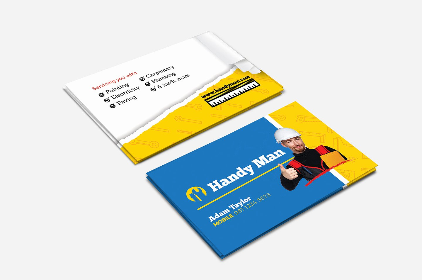 Handy Man Business Cards Beautiful Handyman Business Card Template In Psd Ai & Vector