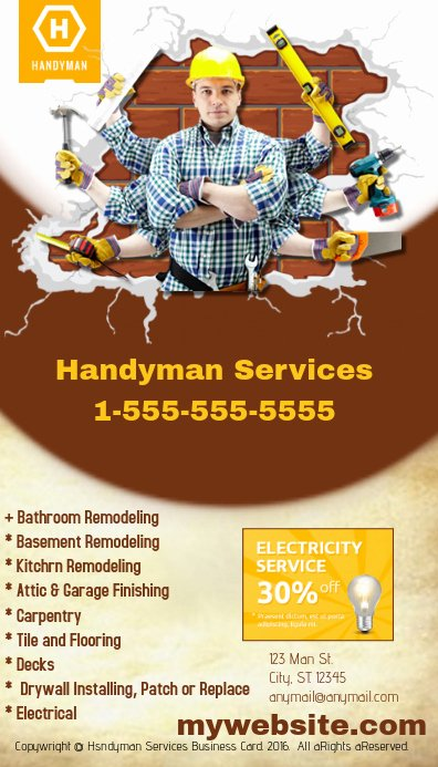 Handy Man Business Cards Luxury Handyman Business Card Template