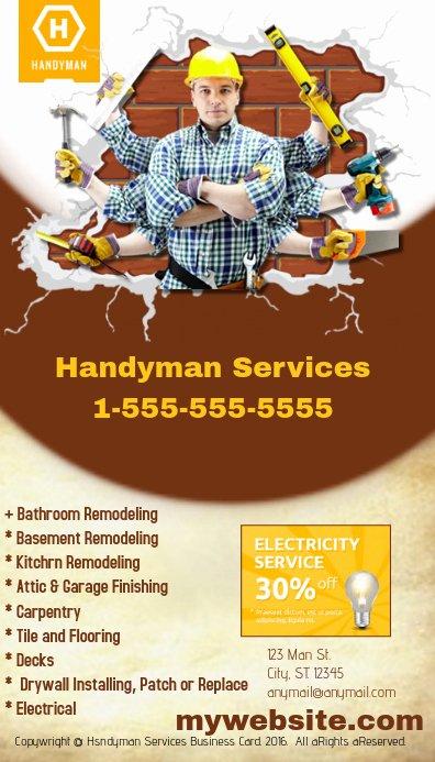 Handyman Business Cards Templates Free Elegant Handyman Business Card Template