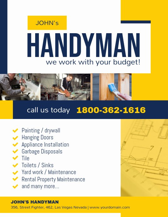 Handyman Business Cards Templates Free Fresh Handyman Professional Services Flyer Template