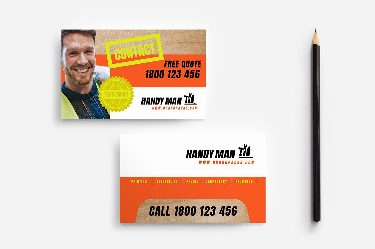 Handyman Business Cards Templates Free Inspirational Handyman Business Card Template V2 In Psd Ai & Vector Brandpacks