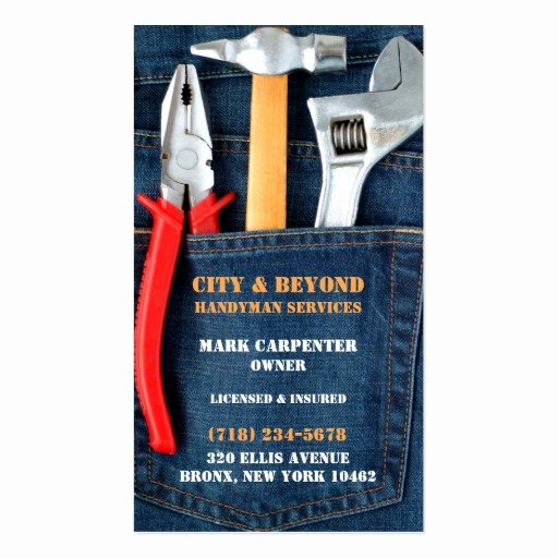 Handyman Business Cards Templates Free Lovely Handyman tools Business Card