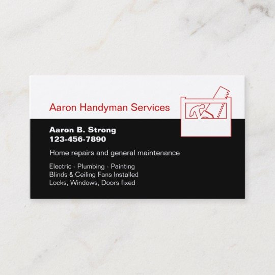 Handyman Business Cards Templates Free Luxury Handyman Services Business Card Template