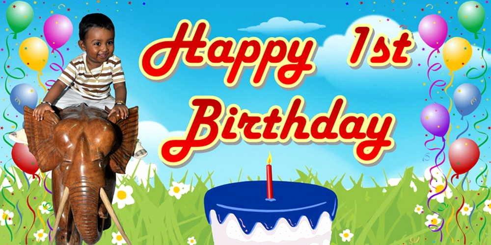Happy Birthday Banner Design Lovely Happy 1st Birthday Banner 6 X 3ft