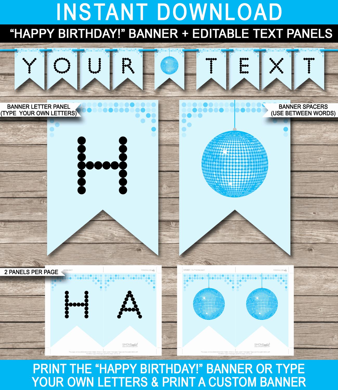 Happy Birthday Banner Design Luxury Dance Banner Template Blue Disco Birthday Banner