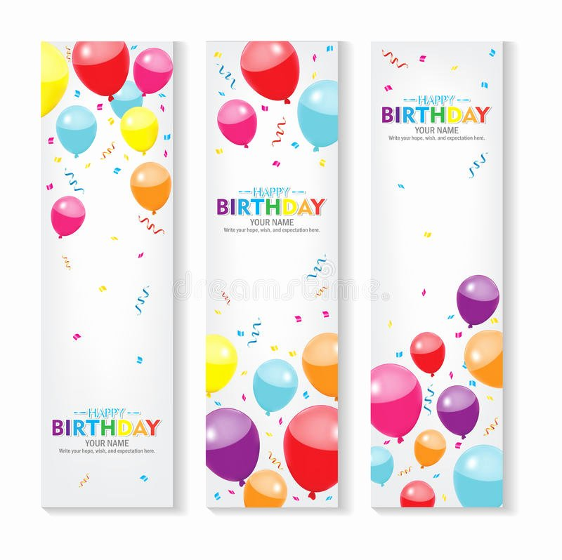 Happy Birthday Banner Design Luxury Editable Vertical Happy Birthday Banner with Balloon and Confetti Decoration Set X Banner