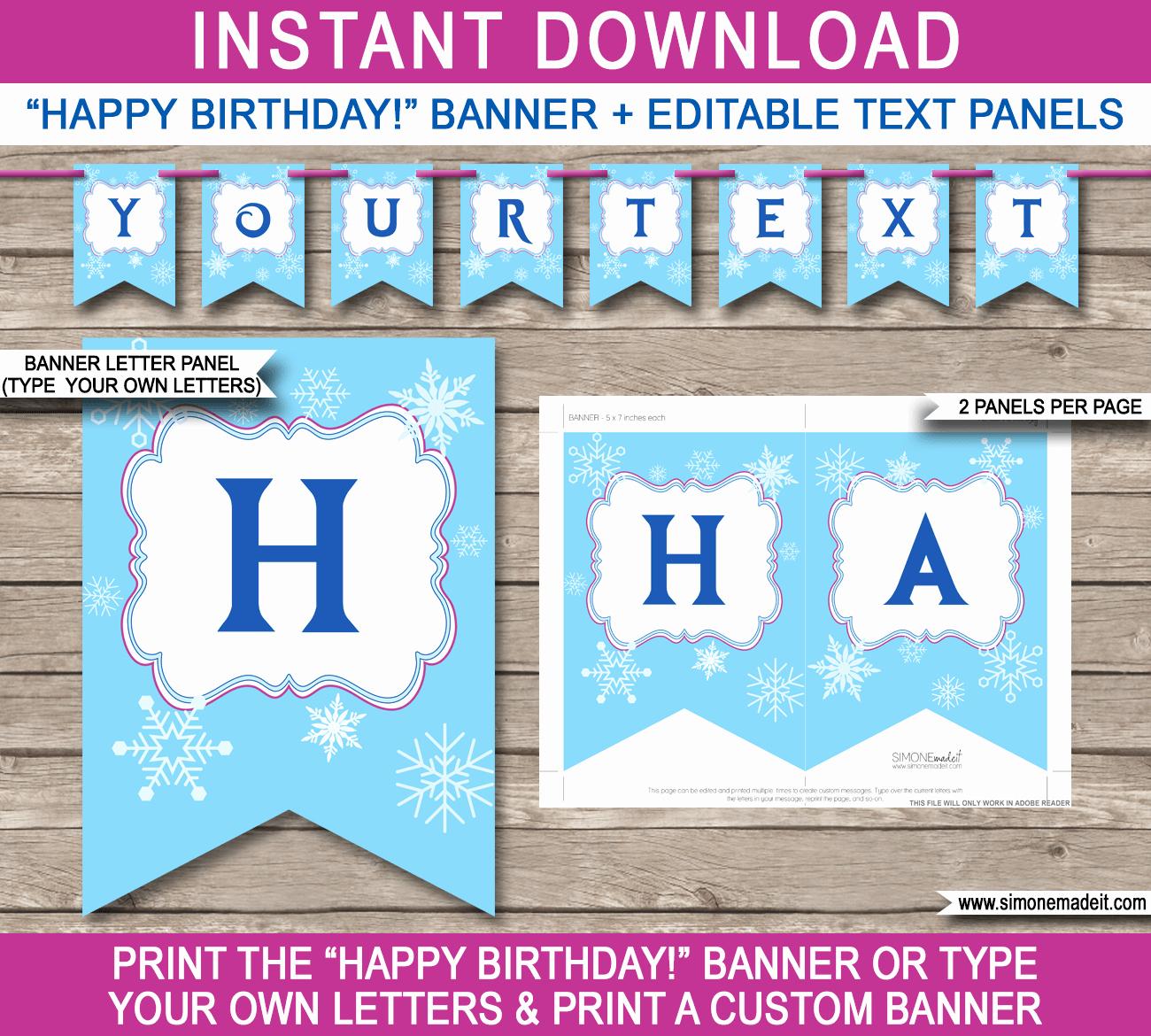Happy Birthday Banner Design Unique Frozen Party Banner Template Birthday Banner