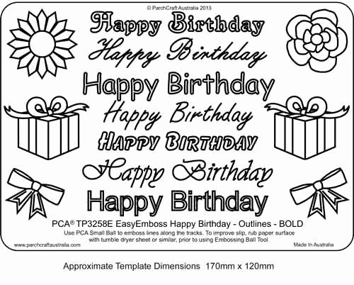 Happy Birthday Template Word Fresh Parchcraft Australia Pca Easy Embossing Templates Words Craft Supplies