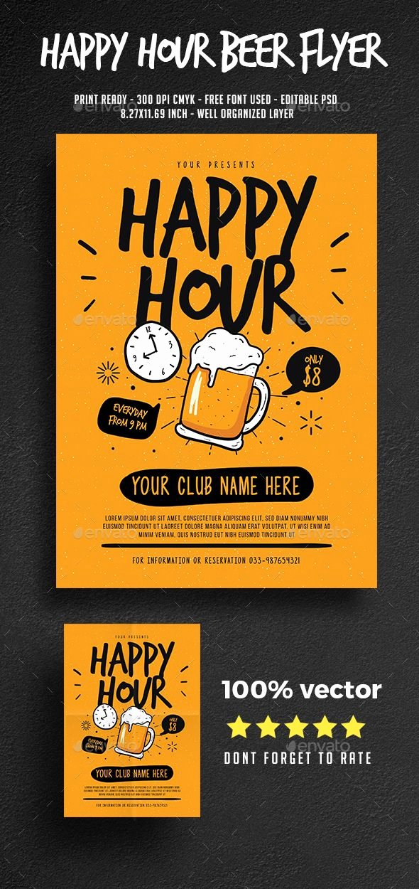 Happy Hour Flyer Template Awesome Happy Hour Beer Flyer Template Psd Ai Flyer Templates