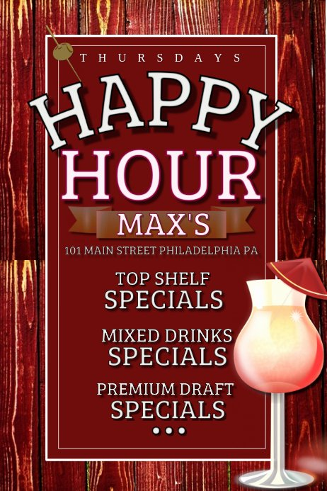 Happy Hour Flyer Template Beautiful Happy Hour Template