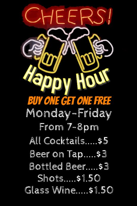 Happy Hour Flyer Template Elegant Happy Hour Bar Flyer Poster Template