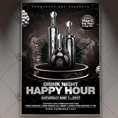 Happy Hour Flyer Template Elegant Happy Hour Premium Flyer Psd Template