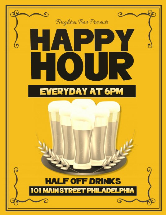 Happy Hour Flyer Template Free Beautiful Happy Hour Template