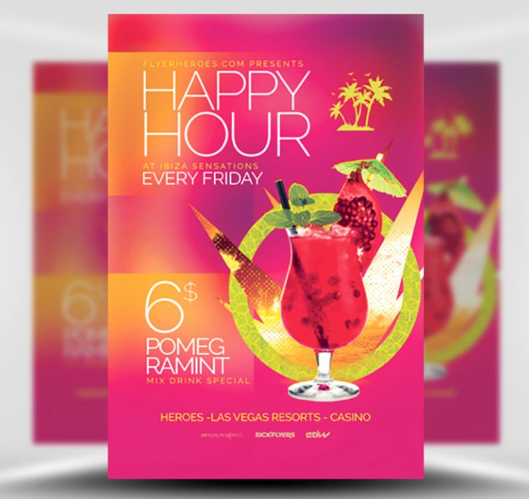 Happy Hour Flyer Template Free Beautiful Minimal Happy Hour Flyer Template Flyerheroes