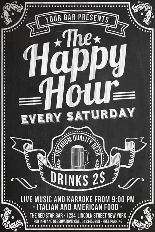 Happy Hour Flyer Template Free Best Of Chalkboard Happy Hour Flyer Template Psd Download Xtremeflyers