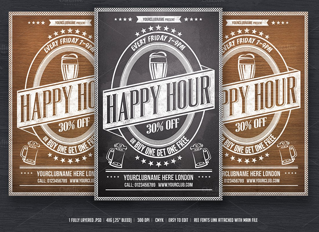 Happy Hour Flyer Template Free Fresh Happy Hour Flyer Template Flyer Templates On Creative Market
