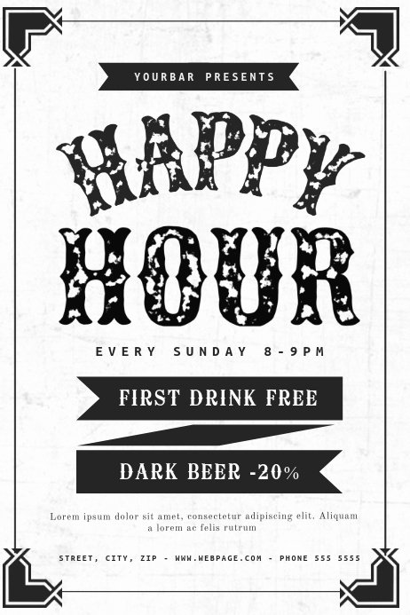Happy Hour Flyer Template Free Luxury Black and White Happy Hour Flyer Template