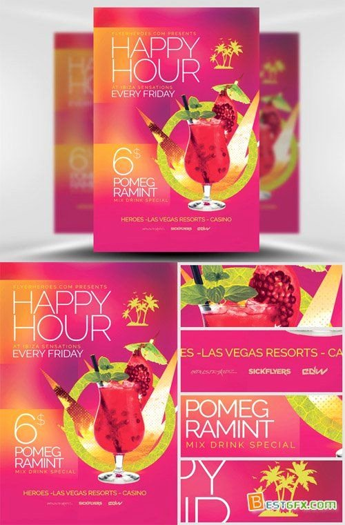 Happy Hour Flyer Template Free New Flyer Template Psd Minimal Happy Hour Psd