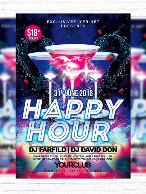 Happy Hour Flyer Template Free New Happy Hour – Free Club and Party Flyer Psd Template Exclsiveflyer