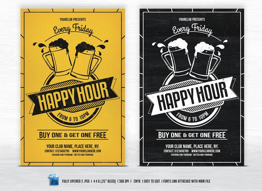 Happy Hour Flyer Template Free Unique Happy Hour Flyer Templates Flyer Templates Creative Market