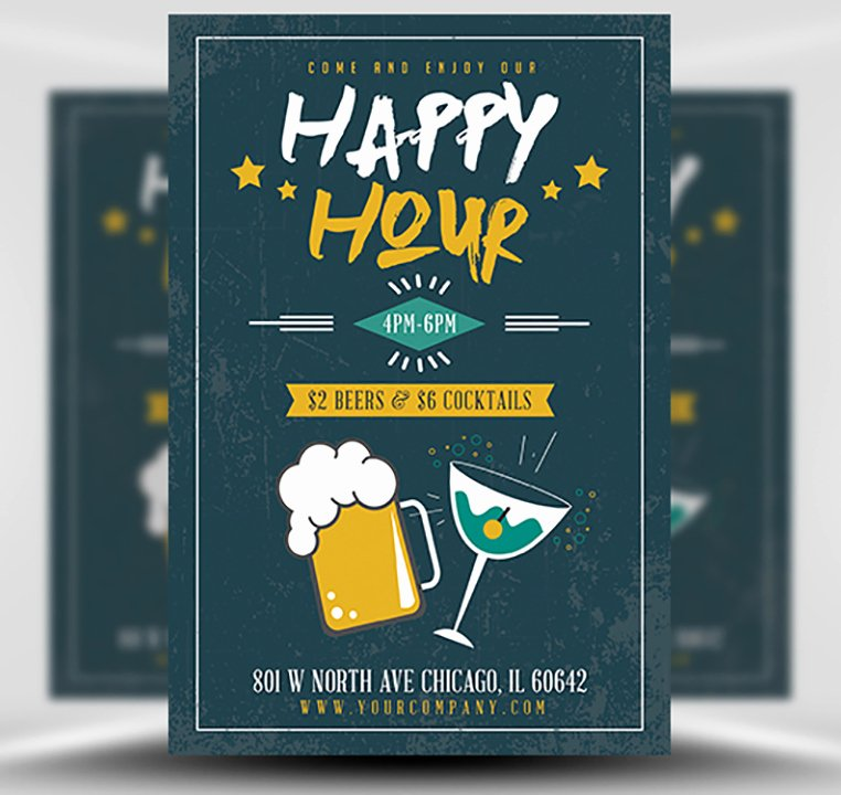 Happy Hour Flyer Template Fresh Simple Happy Hour Flyer Template Flyerheroes