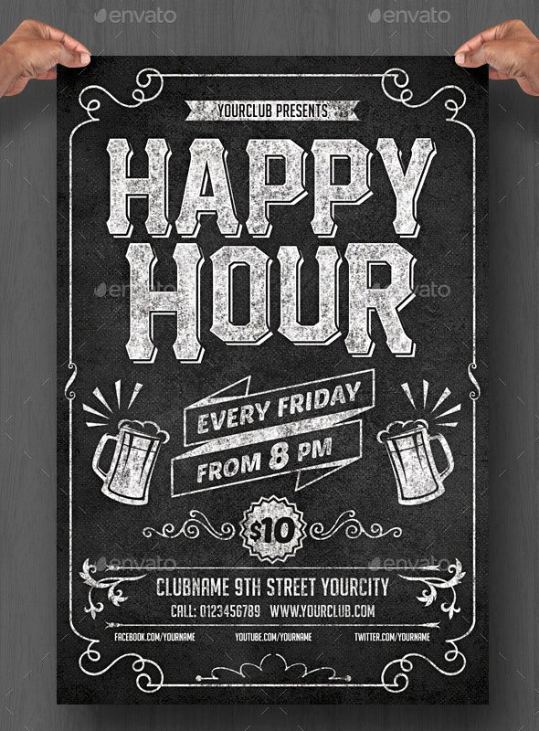 Happy Hour Flyer Template Luxury 20 Cool Chalkboard Flyer Templates Print