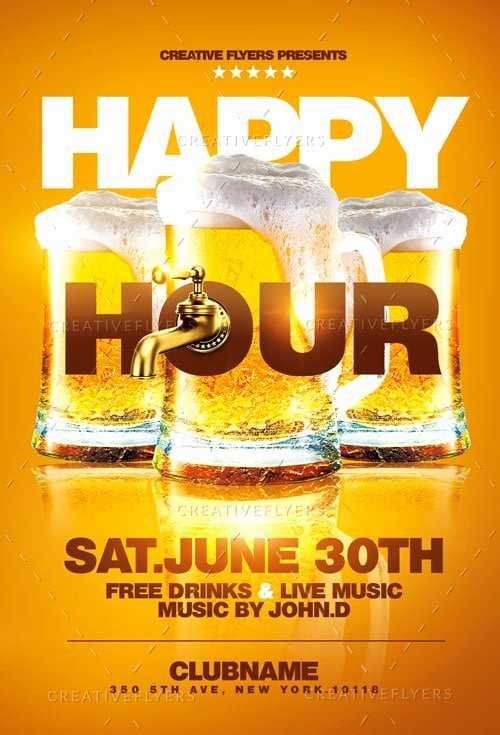 Happy Hour Flyer Template Luxury Happy Hour Flyer Template