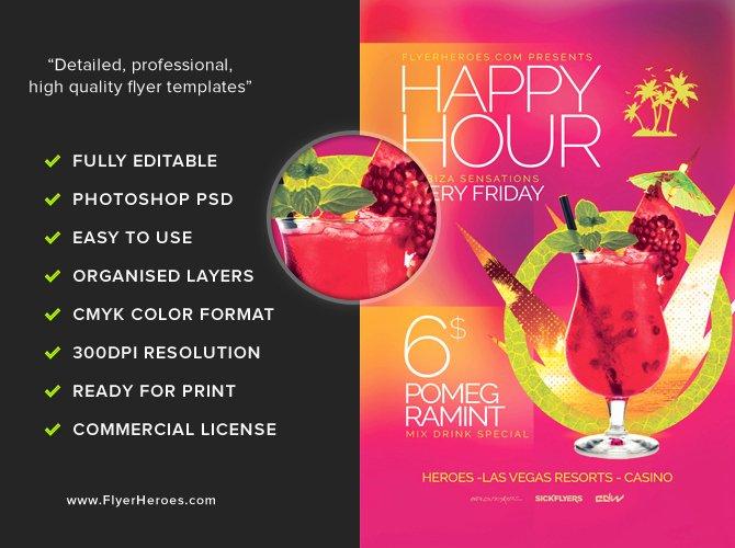 Happy Hour Flyer Template New Minimal Happy Hour Flyer Template Flyerheroes