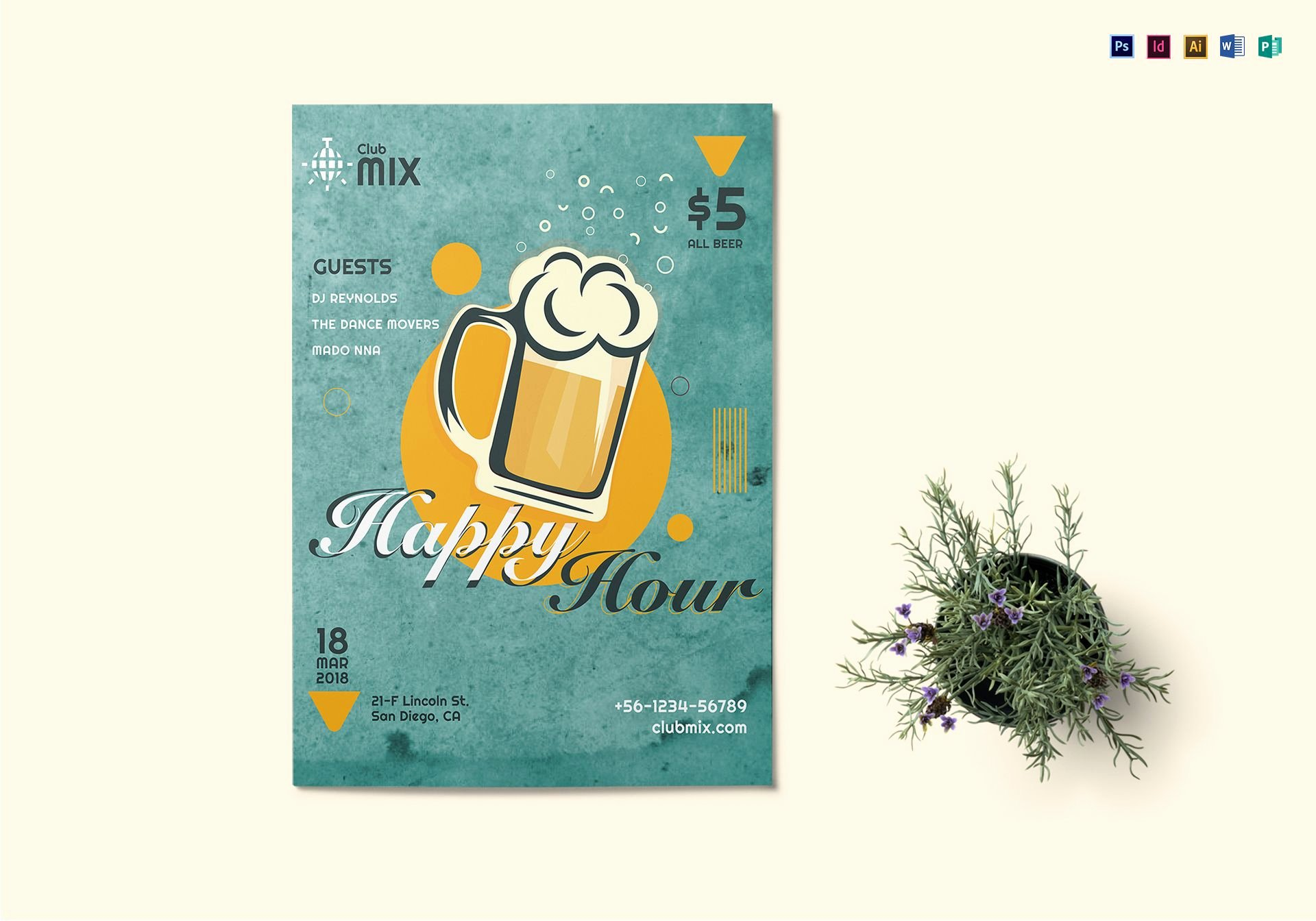 Happy Hour Flyer Template New Vintage Happy Hour Flyer Design Template In Psd Word Publisher Illustrator Indesign