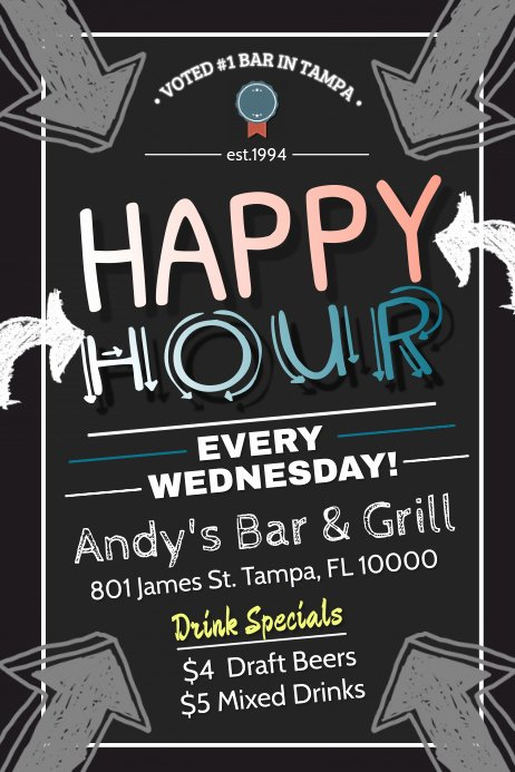 Happy Hour Flyer Templates Free Awesome Happy Hour Template