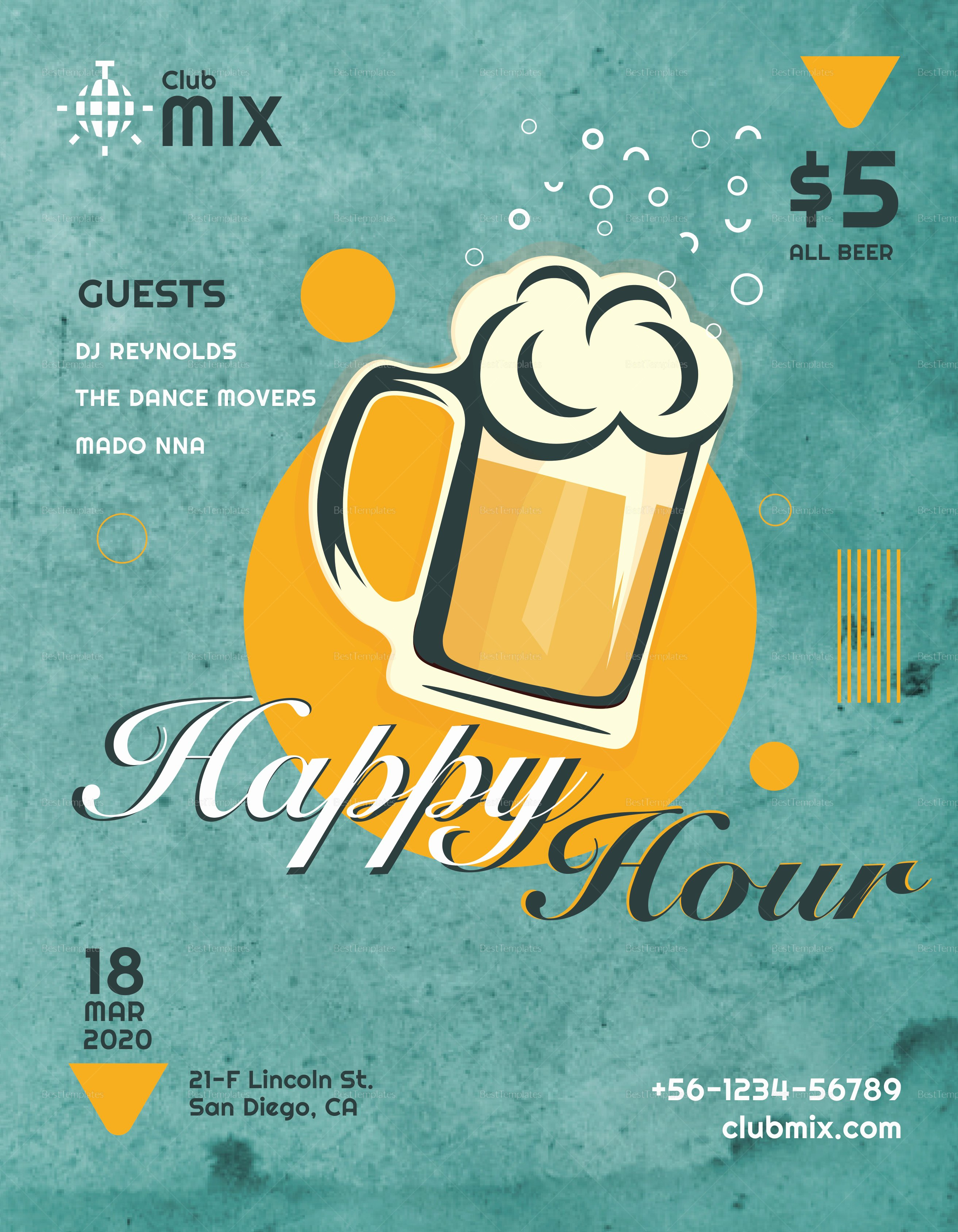 Happy Hour Flyer Templates Free Beautiful Vintage Happy Hour Flyer Design Template In Psd Word