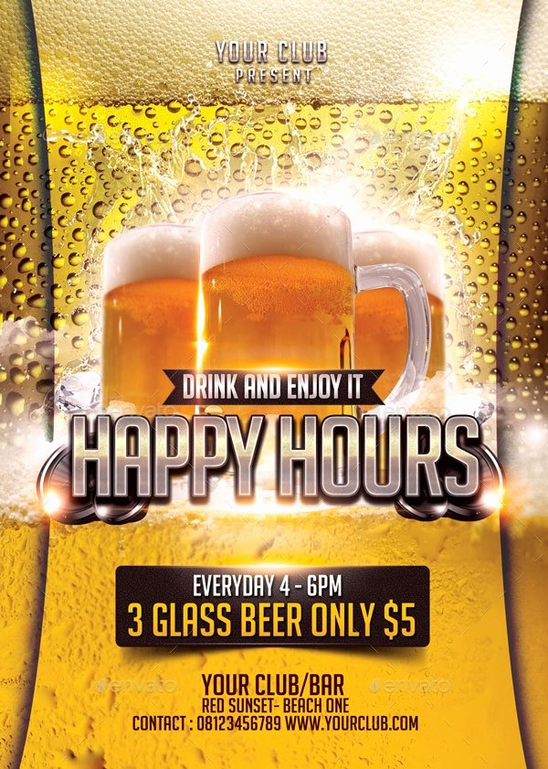 Happy Hour Flyer Templates Free Elegant 23 Happy Hour Flyer Templates Psd Vector Eps Jpg
