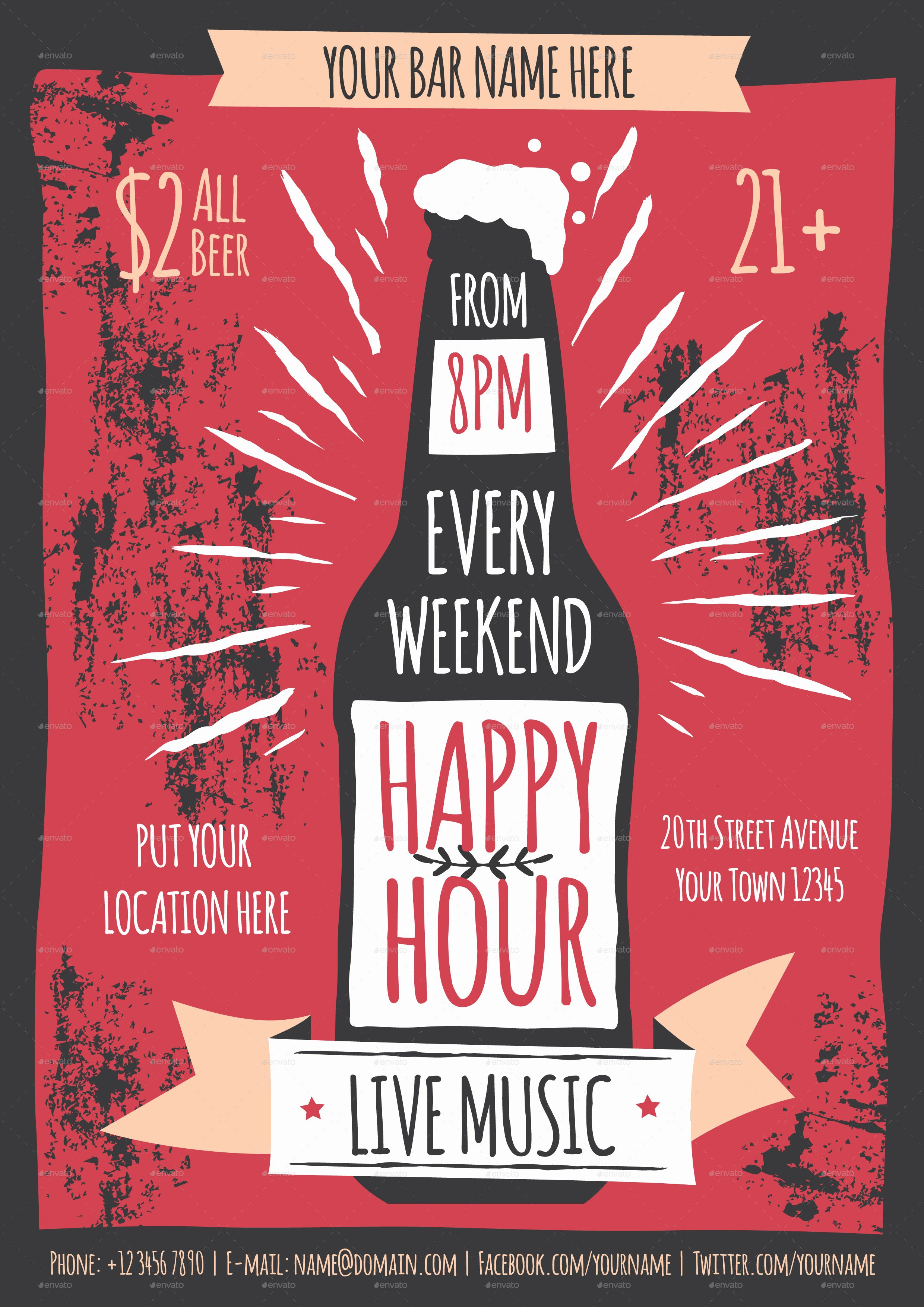 Happy Hour Flyer Templates Free Elegant Happy Hour Flyer Template by Me55enjah