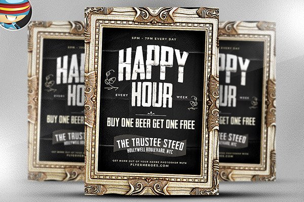 Happy Hour Flyer Templates Free Fresh Framed Happy Hour Flyer Template On Behance