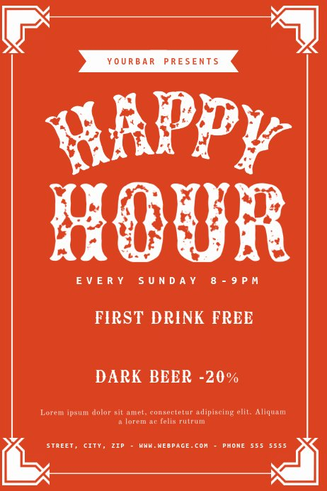 Happy Hour Flyer Templates Free Lovely Free Happy Hour Flyer Template