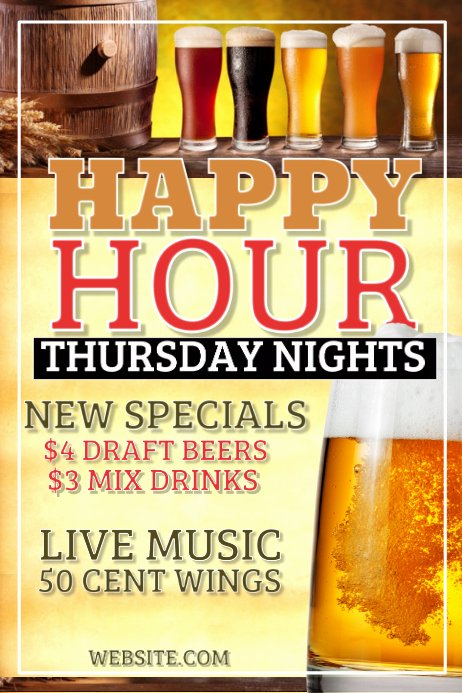 Happy Hour Flyer Templates Free Lovely Happy Hour Template