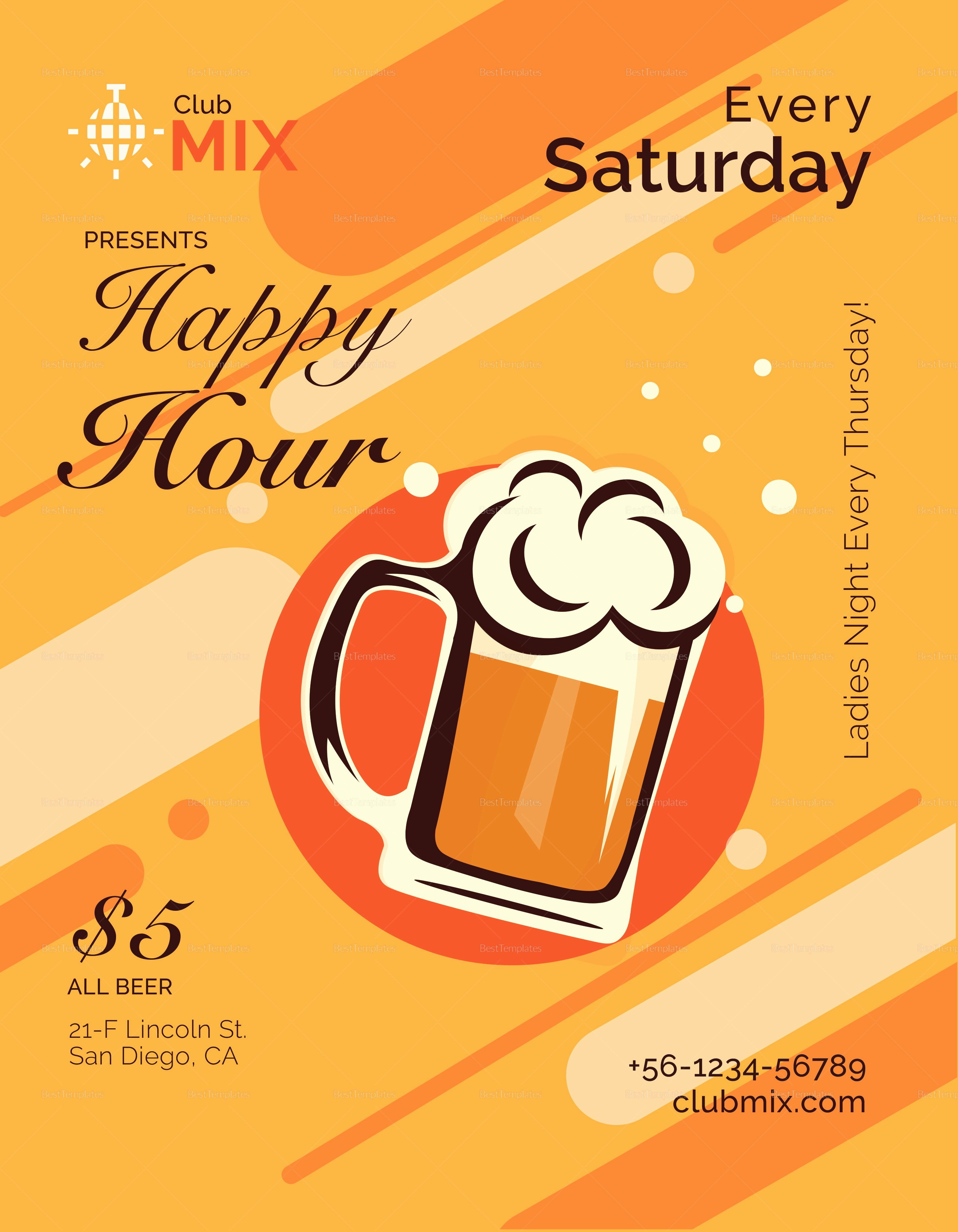 Happy Hour Flyer Templates Free New Happy Hour Flyer Design Template In Psd Word Publisher