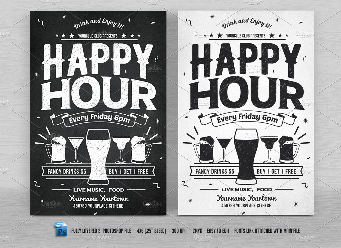 Happy Hour Flyer Templates Free New Happy Hour Flyers Flyer Templates Creative Market