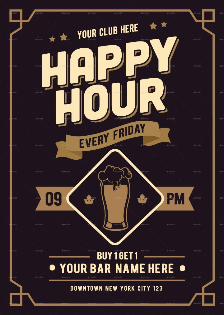 Happy Hour Flyer Templates Free Unique 14 Happy Hour Menu Designs & Templates Psd Ai
