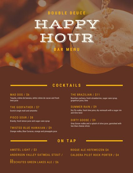 Happy Hour Menu Template Awesome Black and Yellow with Icons Pub Menu Templates by Canva