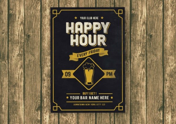 Happy Hour Menu Template Elegant 14 Happy Hour Menu Designs & Templates Psd Ai